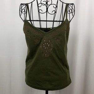 Yuka olive green embroidered/beaded camisole M